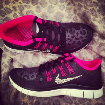Women's Nike Free Run 5.0+ Shield Running Shoes Blinged With Swarovski Clear Elements Crystal Rhinestones Pink Black Reflective Leopard