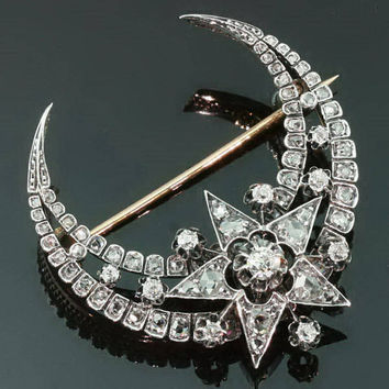 Antique diamonds crescent moon star brooch by adinantiquejewellery