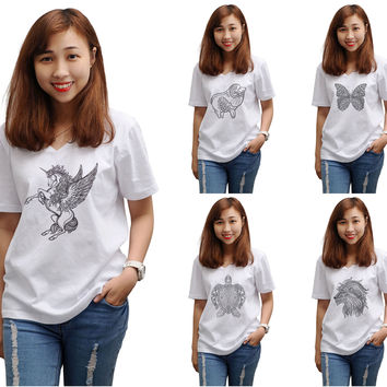 Women Animals drawing in black- white Printed T-shirt WTS_16