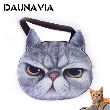 DAUNAVIA 2017 cute Printing 3D cats face female handbag Messenger bag handbags animal canvas shoulder bag face zipper Vintage