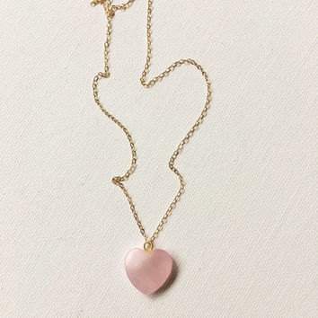 14kgf Rose Quartz Heart Charm Necklace