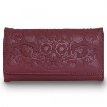 """Sugar Skull"" Trifold Wallet by Loungefly (Burgundy)"