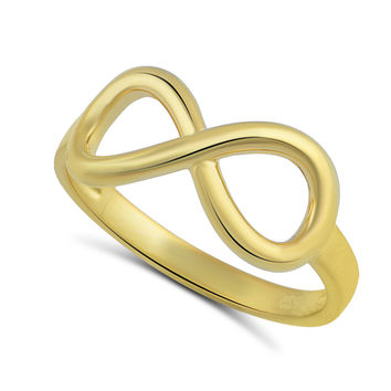 Yellow Gold Tone Sterling Silver Infinity Stackable Ring  2mm