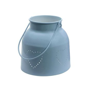 """11"""" French Countryside Powder Blue Iron Candle Holder Lantern with Die Cut Hearts"""