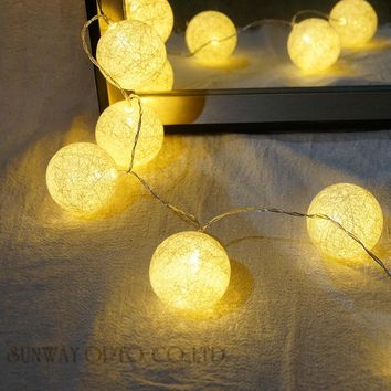 New: 4.5M 20PCS Hard Cotton Ball Lights String for Garland home decoration