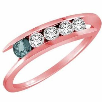 Ryan Jonathan 10K Gold 5 Stone Graduated Diamond and Aquamarine Accented Band Ring (2/5 cttw)