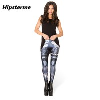 Hipsterme Drop ship S-4XL 2015 Women Blue robot Leggings MIlk Leggings Galaxy leggings Plus Size girl Leggings