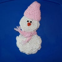 Gift Card Holder Snowman With Pink Hat & Fringed Scarf