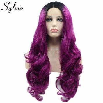 Sylvia long body wave mixed color dark root ombre purple synthetic lace front wig for women middle part heat resistant fiberhair