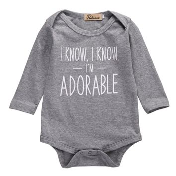 Infant Baby Girl Boy Letters Cotton Bodysuit Jumpsuit Gray Long Sleeve Outfit Baby Clothes