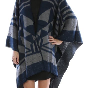 Navy Blue Tribal Pattern Ruana Poncho Scarf