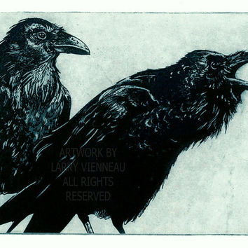 Award Winning Print- AWAITING ALEXANDER (Raven, blackbird, crow, Series) Intaglio Etching 2011, Blue ink 5 inch x 7 inch