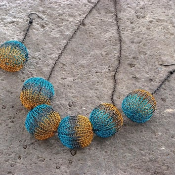 Asymmetric Wire Crochet Jewelry Set, Green and Yellow Necklace and Earring Set of Jewelry, Knitted Beads, Valentines Gift, Blue and Mustard