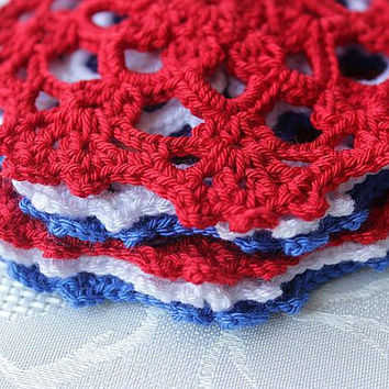 Crochet Cozy Coaster - Red Blue White -Handmade Colorful Coaster - Doily for July 4th