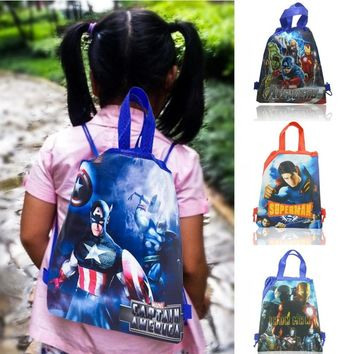 30pcs Marvel Avenger Cartoon Icon Drawstring School Backpacks 34*27CM Party Bag Non Woven Fabrics Kid Best Gift Kid Party Supply