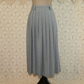 Vintage 80s High Waist Skirt Pleated Skirt Full Skirt Midi Medium Womens Skirts Pockets 1980s Vintage Clothing