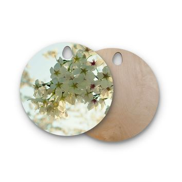 """Robin Dickinson """"Cherry Blossoms"""" White Flower Round Wooden Cutting Board"""