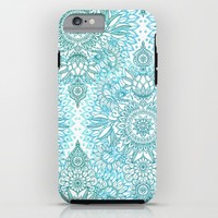Turquoise Blue, Teal & White Protea Doodle Pattern iPhone & iPod Case by Micklyn