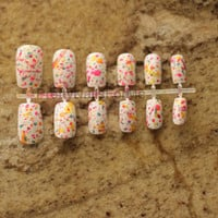 Splatter Paint Fake Nails for Summer and Color Run!