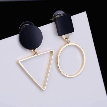 ESBONFI TOMTOSH Fashion Retro triangle Exaggerated Asymmetric Geometric Earrings Female Sweet Personality Gold Silver 2 Color Earrings