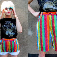 80's Bright Striped Funky Hip Hop Aztec Zig by SomeVelvetVintage