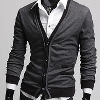 V-neck Fake Pocket  Knitted Shirt