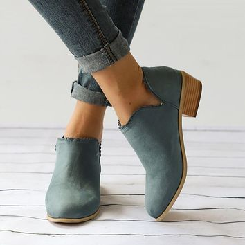 Women Winter Shoes Ruffles Solid Women Ankle Boots Pointed Toe Motorcycle Boots Punk Shoes Women Chunky Heel Tenis Feminino