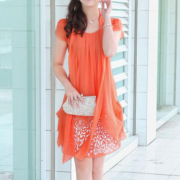 Elegant Summer short sleeved Party Dress