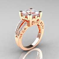 French Vintage 14K Rose Gold Princess Cubic Zirconia Diamond Solitaire Ring R222-RGDCZ