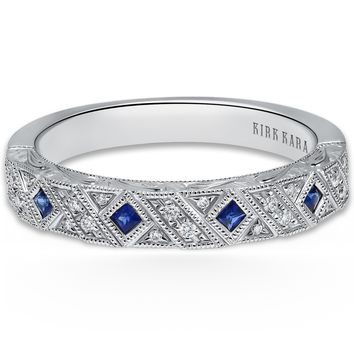 "Kirk Kara ""Charlotte"" Princess Cut Blue Sapphire and Diamond Wedding Band"