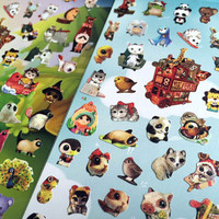 super cute animal sticker little cartoon animal zoo party big head pet kawaii seal sticker big eyes animal label cute baby animal mini icon