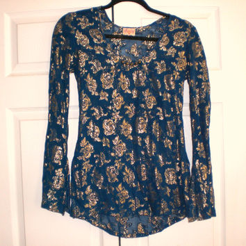 Gorgeous Sheer Teal With Gold Lurex Roses Covered Top Xxs Sz 0 Plenty Tracy Reese Rare Like New (Plenty by Tracy Reese)