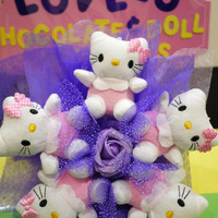 Hello! Cute Kitty Doll Flower Bouquet in Purple. Sweet Birthday or Anniversary Gift