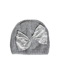 Alice Hannah Angora & Lambswool Blend Cable Beanie With Sequin Bow at asos.com