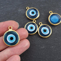 Translucent Blue Evil Eye Round Artisan Handmade Glass Pendant - 22k Matte Gold Plated Bezel - 1pc
