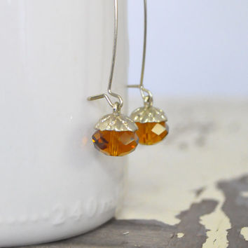 Vintage Dangle Earrings • Amber Drop Earrings • Gold Dangle Earrings • Acorn Earrings • Amber Faceted Glass Bead • Woodland Earrings