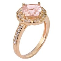 Created Rose Pink Morganite Floral Halo Solitaire Bridal Engagement Wedding Promise Ring Rose Gold Over 925 Sterling Silver