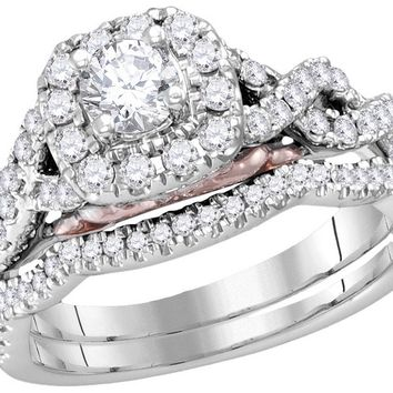 14k White Gold Womens Round Diamond Bellissimo Bridal Wedding Infinity Ring Band Set 1.00 Cttw