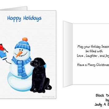 Black Lab Christmas Cards 10 - Labrador Christmas Cards - Black Lab Art 13 - Christmas In July - Black Dog Christmas Card -Black Lab Santa -