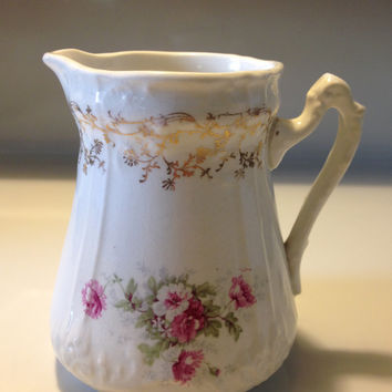 Antique La Francaise Cream Pitcher Embossed Gold Gilt Peonies Pink White Floral Design Early 1900s