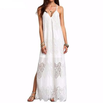 Long Lace Maxi Dress - White/Black