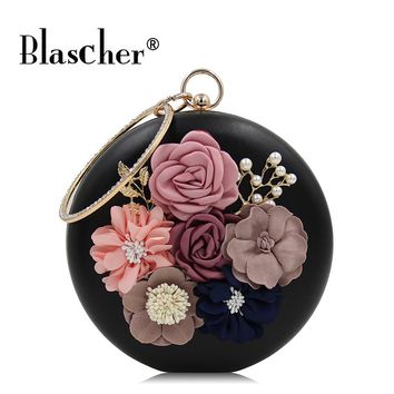 Blascher New Round Flowers Women Evening Bags Ladies Bead embroidery Dinner bag Upscale Wedding Bag Clutch Female Party Clutches