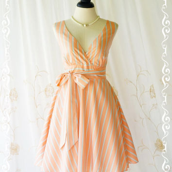 My Lady II Spring Summer Sundress Pale Orange/Blue Stripe Dress Garden Party Tea Dress Orange Bridesmaid Dress Vintage Design XS-XL