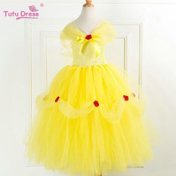 Deluxe Tutu Dress Yellow Beauty Inspired Dress With Rose Flower Handmade Tulle Princess Dress Halloween Children Costume Dress