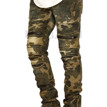qiyif MEN'S CAMO DISTRESSED STRETCH SLIM FIT BIKER JEANS VICTORIOUS