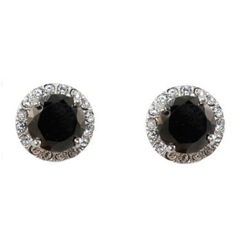 Starla Black Onyx Halo Stud Earrings | 3.5ct | Cubic Zirconia | Silver