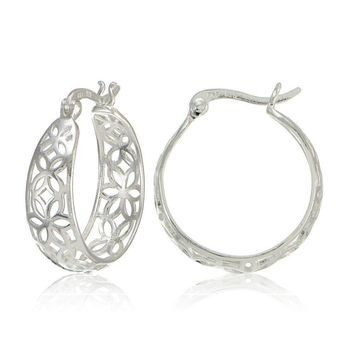 Sterling Silver Filigree Floral Design Hoop Earrings