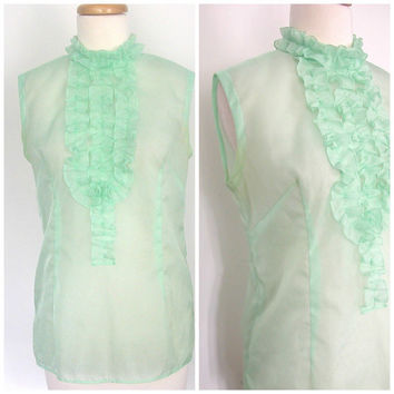 1960s Ruffled Shirt / 60s blouse / tuxedo shirt / disco shirt / cocktail blouse / spring fashion / green shirt  / small medium