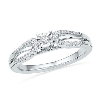 10kt White Gold Women's Round Diamond Solitaire Open-shank Bridal Wedding Engagement Ring 1/6 Cttw - FREE Shipping (US/CAN)