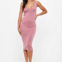Missguided - Pink Square Neck Dress